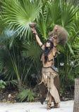 Woman in Maya indian costume in Tulum, Mexico. Tulum, Mexico, March 15th, 2017: Woman in Maya indian costume in Tulum, Mexico stock image