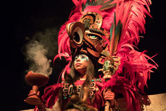 Woman in a Mayan warrior costume. royalty free stock photo