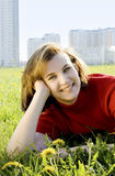 Woman on meadow Royalty Free Stock Photos