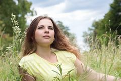 Woman on a meadow Royalty Free Stock Photos