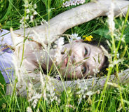 Woman in the meadow. Young woman in the meadow Royalty Free Stock Photo