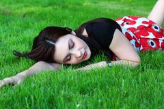 Woman on a meadow Royalty Free Stock Images