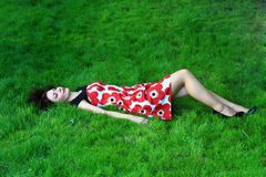 Woman on a meadow Royalty Free Stock Photography