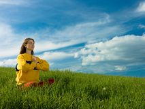 Woman in Meadow Stock Photo