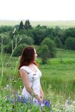 Woman at meadow Stock Image