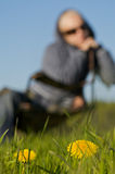 Woman in a Meadow Stock Photography