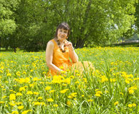 Woman in meadow with dandelions Royalty Free Stock Photos