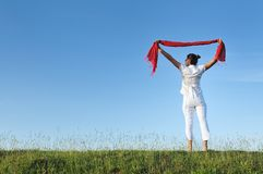 Woman meadow scarf Royalty Free Stock Image