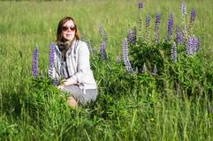 Woman in the meadow Stock Photos