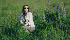 Woman in meadow Stock Photos