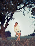 Woman at the meadow Royalty Free Stock Photography