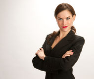 Woman Means Business Suit Jacket White Background Royalty Free Stock Photos