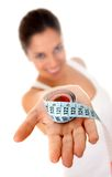 Woman with measure tape Royalty Free Stock Images
