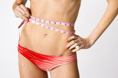 Woman Measures Her Waist Female Torso Body Measurements Bikini Royalty Free Stock Photography