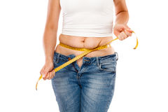 Woman measuring body. Woman measuring her body with a tape measure Royalty Free Stock Photos