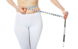 Woman measuring her abdomen Stock Images