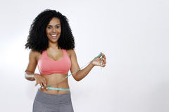 Woman measuring her abdomen Royalty Free Stock Image