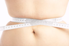 Woman measuring her belly Royalty Free Stock Images