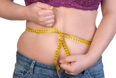 Woman measuring her belly fat Royalty Free Stock Photos