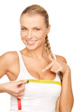 Woman measuring her breast Royalty Free Stock Photos