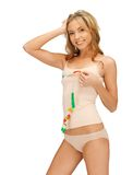 Woman measuring her breast Royalty Free Stock Images
