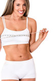 Woman measuring her breasts Royalty Free Stock Image