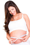 Woman measuring her pregnant belly Royalty Free Stock Image