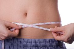 Woman measuring her waist Royalty Free Stock Image