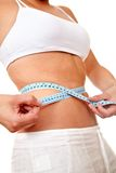 Woman measuring her waist Royalty Free Stock Photo