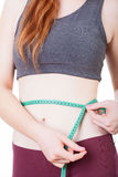 Woman is measuring her waist Royalty Free Stock Images