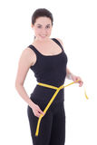 Woman measuring her waist isolated on white Royalty Free Stock Images