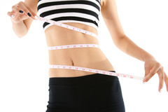 Woman measuring her waist line isolated on white background Royalty Free Stock Image