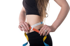 Woman measuring her waist. Stock Photography