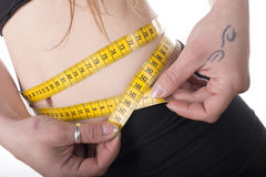 Woman measuring her waist. Royalty Free Stock Photo