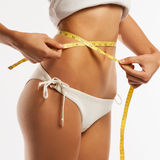 Woman measuring her waistline . Stock Photography