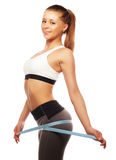 Woman measuring her waistline . Perfect Slim Body Stock Images