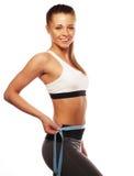 Woman measuring her waistline . Perfect Slim Body Royalty Free Stock Photos