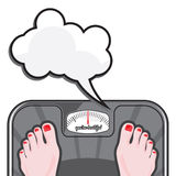 Woman measuring her weight on a balance Stock Photo