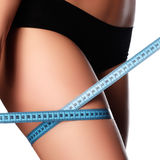 Woman measuring perfect shape of beautiful hips. Healthy lifesty Royalty Free Stock Photography