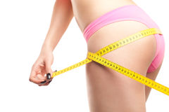 Woman Measuring Perfect Shape Of Beautiful Hips Royalty Free Stock Images