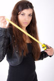 Woman with measuring tape Stock Image