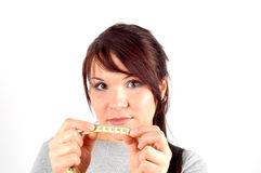 Woman with measuring tape #3 Royalty Free Stock Photos