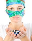 Woman with a measuring tape on head. Stock Photo
