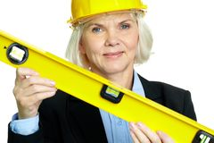 Woman with measuring tool Stock Photos