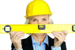 Woman with measuring tool Royalty Free Stock Photos