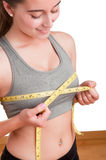 Woman Measuring Up Her Chest Royalty Free Stock Photos