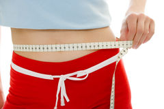 Woman measuring waist Royalty Free Stock Image
