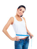 Woman measuring  waist Royalty Free Stock Photo