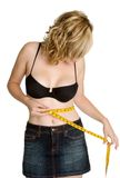 Woman Measuring Waist Stock Photography
