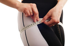 Woman Measuring Waist Detail - Isolated Royalty Free Stock Photography